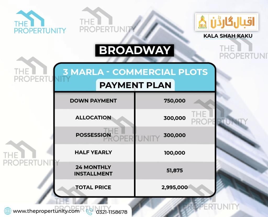 Iqbal Garden commercial plots Payment Plan