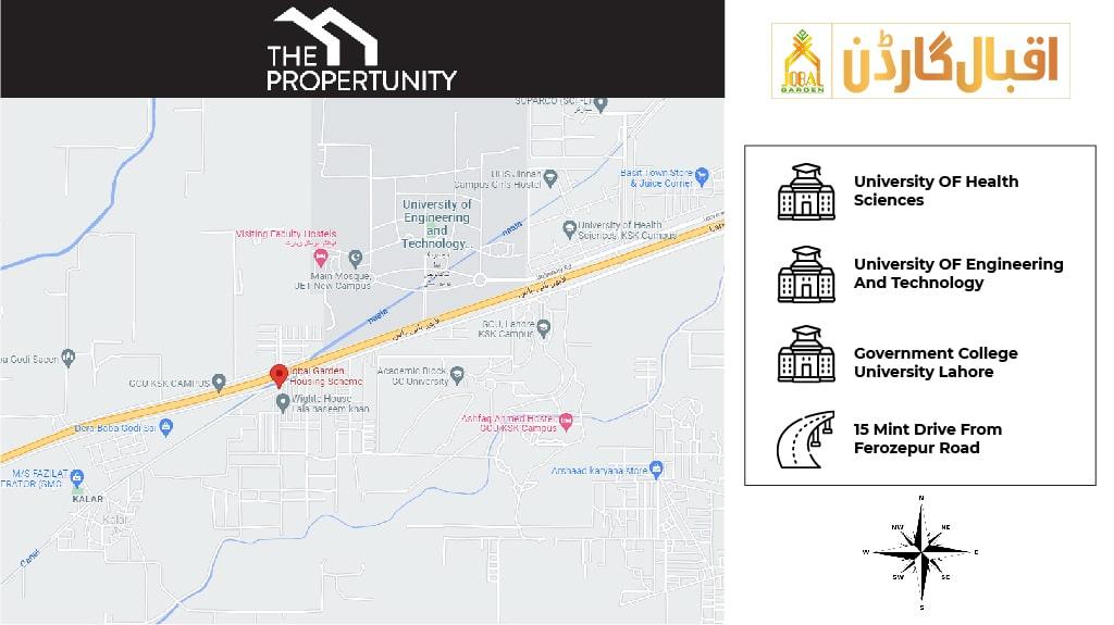 Iqbal Garden Lahore Location Map